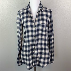 American eagle xs plaid button up